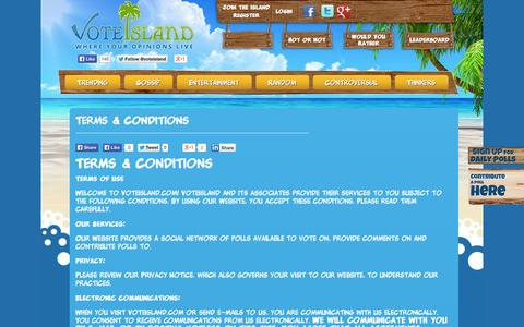 Screenshot of Terms Page voteisland.com - Terms & Conditions - VoteIsland   Polls and Opinions - captured Oct. 26, 2014