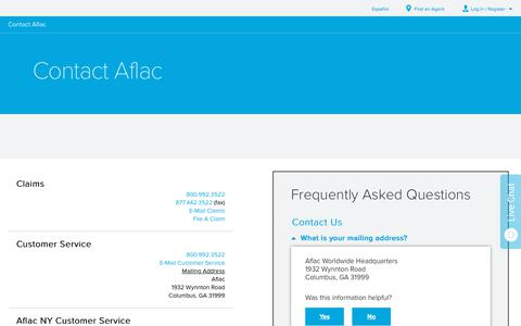 Screenshot of Contact Page aflac.com - Contact Aflac   Aflac - captured Aug. 22, 2019