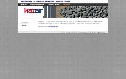 Screenshot of Contact Page hazair.com - Contact Us - HazAir, Inc. - captured Oct. 2, 2014