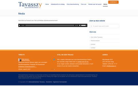 Screenshot of Press Page tavasszy.nl - Media - Advocatenkantoor Tavasszy - captured Oct. 7, 2017