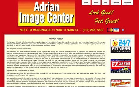 Screenshot of Privacy Page adrianimagecenter.com - Privacy - - captured Oct. 1, 2014