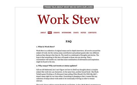 Screenshot of FAQ Page workstew.com - FAQ   Work Stew - captured Oct. 26, 2014