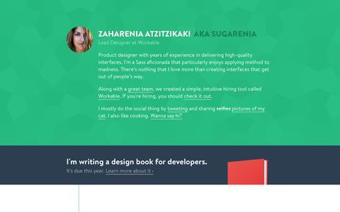Screenshot of Home Page sugarenia.com - Zaharenia Atzitzikaki – Lead Designer at Workable - captured Feb. 16, 2016