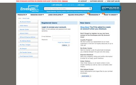 Screenshot of Login Page envelopes.com - My Account - Order History, Reorder Envelopes, Custom Envelopes - Envelopes.com - captured Oct. 10, 2014