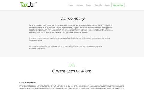 Screenshot of Jobs Page taxjar.com - Jobs at TaxJar - captured Sept. 17, 2014