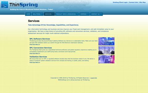 Screenshot of Services Page thinspring.com - FDA Structured Product Labeling - SPL | Software and Conversion Services Including SPL, PLR, REMS, LDR, 	ICSR, FAERS, EMDR and ECTD | FDA Submission Services - AS2 | Thinspring - captured Nov. 19, 2018