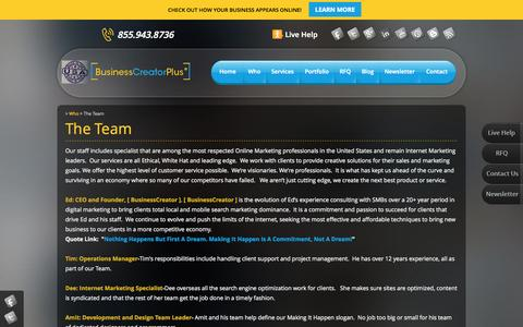 Screenshot of Team Page businesscreatorplus.com - BusinessCreator Team-We are here to help you dominate local search - captured Oct. 5, 2014