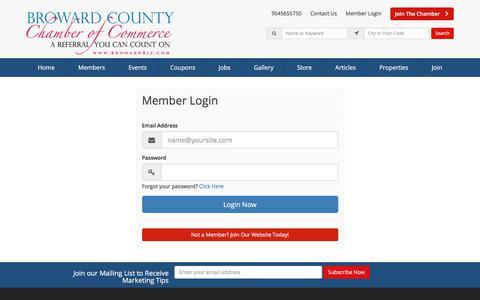 Screenshot of Login Page browardbiz.com - Login Now - Broward County Chamber of Commerce - captured Oct. 11, 2017