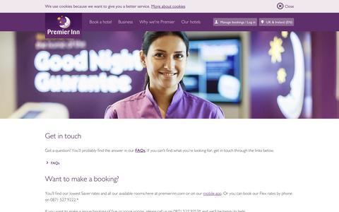 Screenshot of Contact Page premierinn.com - Contact Premier Inn | Contact us | Premier Inn - captured July 15, 2016