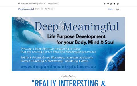 Screenshot of Home Page deepandmeaningful.com.au - Deep and Meaningful - captured June 4, 2017