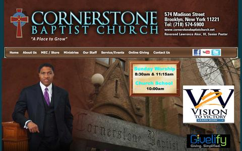 Screenshot of Home Page cornerstonebaptistchurch.net - Cornerstone Home Page - captured March 11, 2016