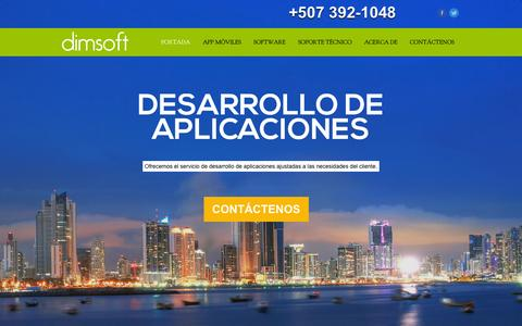 Screenshot of Home Page dimpanama.com - DIMSOFT - Desarrollo de aplicaciones móviles - captured Oct. 5, 2014