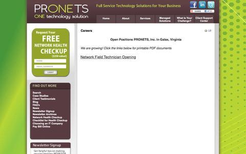 Screenshot of Jobs Page pronetsinc.com - database programming, website design and hosting, business disaster recovery, hardware as a service galax, hillsville, dublin va - captured Feb. 1, 2016