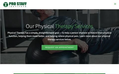 Screenshot of Services Page prostaffpt.com - Physical Therapy Services - Pro Staff Physical Therapy - captured Sept. 29, 2018