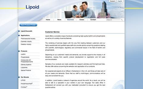 Screenshot of Support Page lipoid.com - Customer Service | Lipoid - captured Oct. 28, 2019