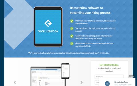 Screenshot of Landing Page recruiterbox.com - Recruitment Software, Applicant Tracking: Recruiterbox - captured June 21, 2016