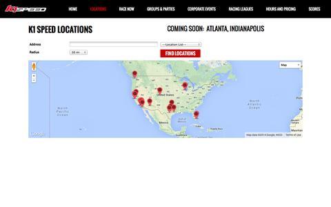 Screenshot of Locations Page k1speed.com - K1 Speed |   LOCATIONS - captured Oct. 28, 2014