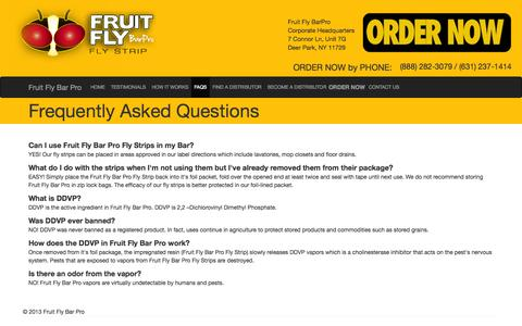 Screenshot of FAQ Page fruitflybarpro.com - Fruit Fly Control & Remedies | Controlling & Prevent Flies, Cockroaches, Moths & Spiders - Fruit Fly Bar Pro - captured Sept. 30, 2014
