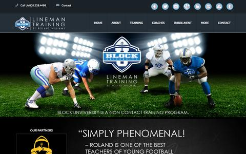 Screenshot of Home Page blockuniversity.com - Block University | Lineman Training By Roland Willams - captured Sept. 30, 2014
