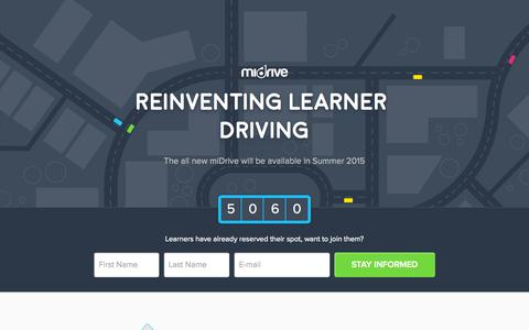 Screenshot of Home Page midrive.com - miDrive - Reinventing learner driving - captured Aug. 4, 2015