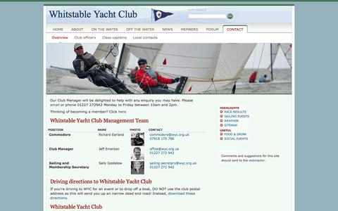 Screenshot of Contact Page wyc.org.uk - Whitstable Yacht Club »  Contact - captured Oct. 7, 2014