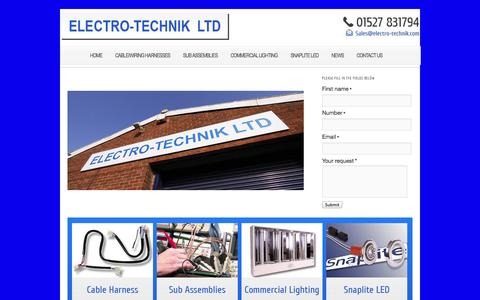 """Screenshot of Home Page electro-technik.com - Electro-Technik   Electro-Technik – Manufacture Cable & Wiring Harnesses – Commercial Lighting – """"Snaplite"""" downlights LED and Halogen - captured Oct. 2, 2014"""