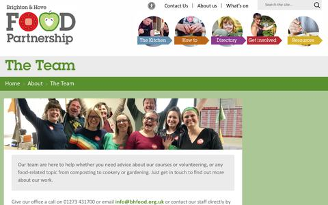 Screenshot of Team Page bhfood.org.uk - The Team – Brighton and Hove Food Partnership - captured Oct. 6, 2018