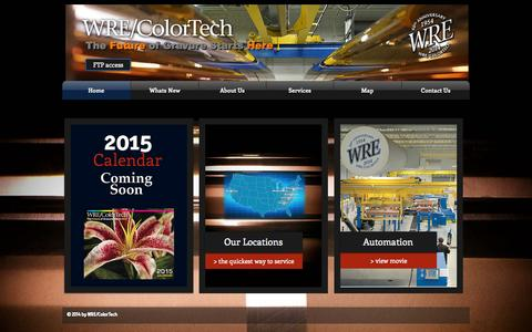Screenshot of Home Page wrecolor.com - WRE/ColorTech gravure cylinders - captured Oct. 6, 2014