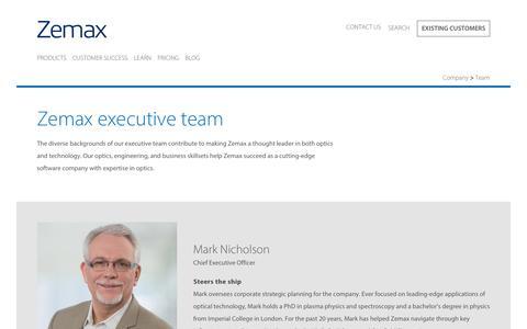 Screenshot of Team Page zemax.com - Zemax  Leadership Team - Zemax - captured Oct. 20, 2018