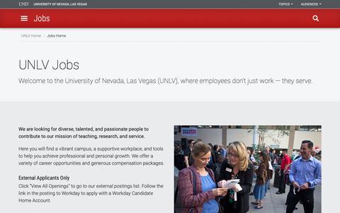 Screenshot of Jobs Page unlv.edu - UNLV Jobs | Jobs | University of Nevada, Las Vegas - captured Nov. 16, 2018