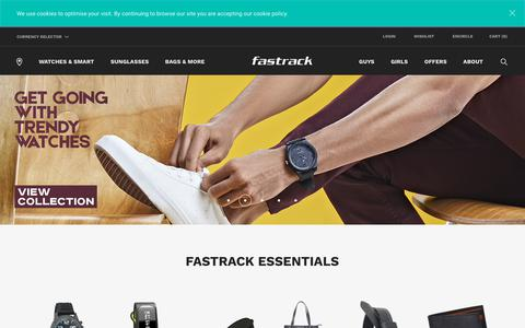 Screenshot of Home Page fastrack.in - Shop Fashion Accessories For Men, Women & Kids - Fastrack - captured Sept. 22, 2018