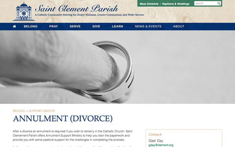 Screenshot of clement.org - Annulment (Divorce) | Saint Clement Parish - captured March 20, 2016