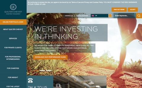 Screenshot of Home Page quiltercheviot.com - Quilter Cheviot: Investment Management UK - captured Sept. 23, 2014