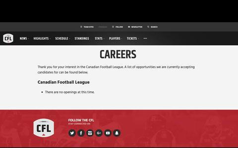 Screenshot of Jobs Page cfl.ca - Careers - CFL.ca - captured Dec. 11, 2018