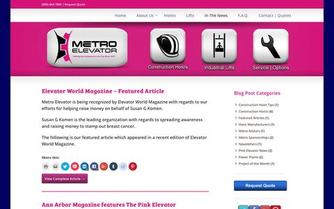 Screenshot of Press Page metroelevator.com - Metro Elevator News - captured Aug. 10, 2016