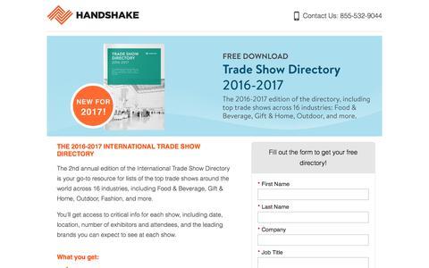 Screenshot of Landing Page handshake.com captured Aug. 19, 2016