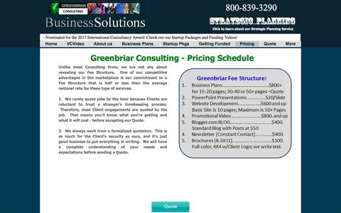 Screenshot of Pricing Page greenbriar-consulting.com - Pricing | Greenbriar Consulting Business Plans - captured July 8, 2018