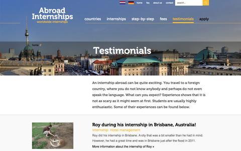 Screenshot of Testimonials Page abroad-internships.com - Abroad Internships| Abroad Internships - captured Sept. 30, 2014