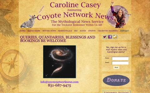 Screenshot of Contact Page coyotenetworknews.com - Queries, Quandaries, Blessings and Bookings be Welcome - Coyote Network News - captured March 17, 2016