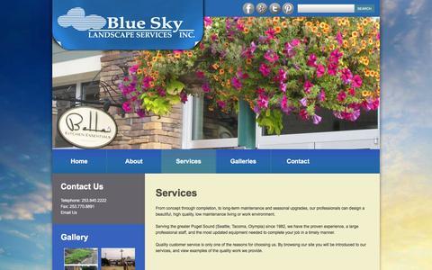 Screenshot of Services Page blueskyland.com - Services  |  Blue Sky Landscape Services Inc - captured Feb. 7, 2016