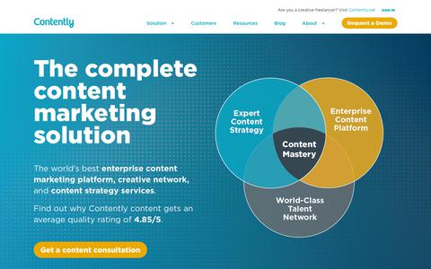 Screenshot of Home Page contently.com - Content Marketing Solution | Strategy, Platform & Talent | Contently - captured July 10, 2019
