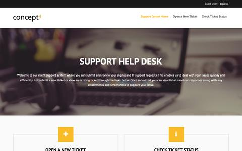 Screenshot of Support Page concept4.com - Concept4 Support - captured Oct. 21, 2018