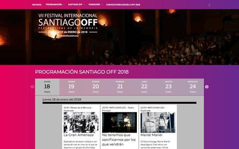 Screenshot of Home Page santiagooff.com - Festival Internacional - Santiago Off - captured Feb. 12, 2018