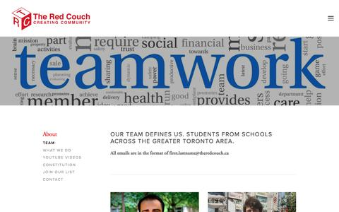 Screenshot of Team Page theredcouch.ca - Team — The Red Couch - captured Nov. 17, 2017
