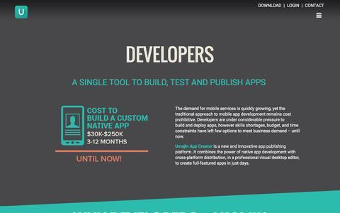 Screenshot of Developers Page umajin.com - DEVELOPERS  –  Umajin - captured Jan. 10, 2016