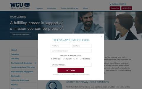 Screenshot of Jobs Page wgu.edu - Online University Jobs | Career and Employment | WGU - captured April 14, 2019