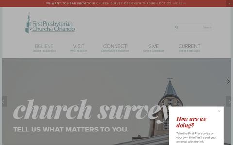 Screenshot of Home Page fpco.org - First Presbyterian Church of Orlando - captured Oct. 13, 2017