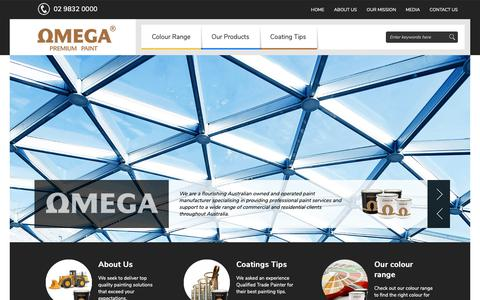 Screenshot of Home Page omegapaints.com.au - Premium Paint Supplier In Australia | Omega Paints - captured Nov. 7, 2018