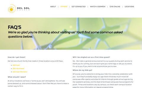 Screenshot of FAQ Page delsolchurch.com - FAQ's | Del Sol Church - captured Oct. 29, 2014