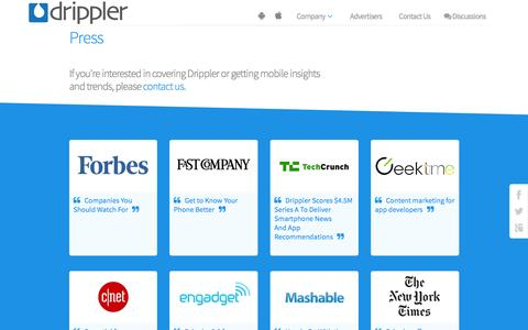 Screenshot of Press Page drippler.com - Press | Drippler - captured Oct. 21, 2015